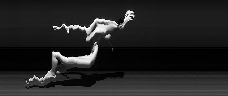 nude, female, form, slitscan, cubism, woman, black and white, stretch, lunge, arm, leg, float, face, fall, time, temporal, Bering